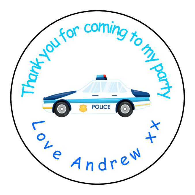 Personalised Round Glossy Birthday Party Favour Sweet Bag Stickers Police Car