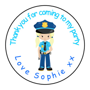 Personalised Round Glossy Birthday Party Favour Sweet Bag Stickers Police Officer