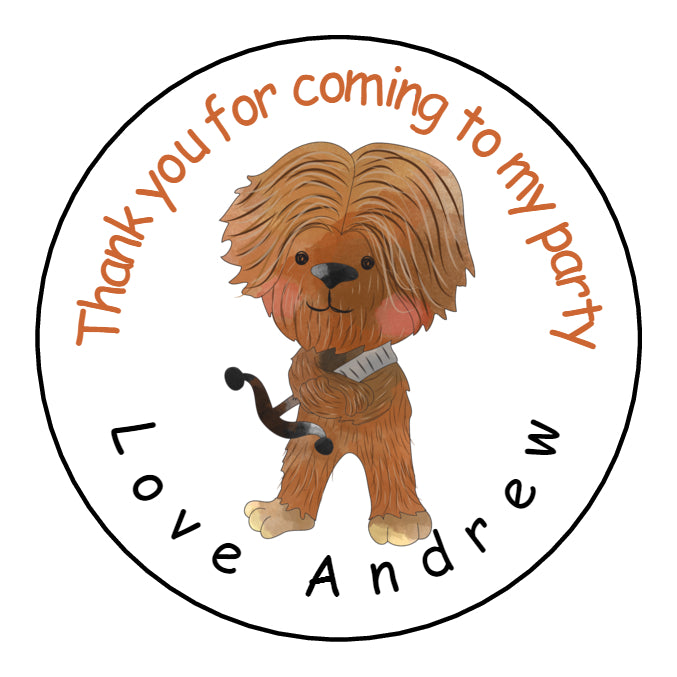 Personalised Glossy Birthday Party Favour Sweet Bag Stickers - Chewbacca