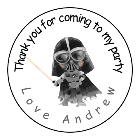 Personalised Glossy Birthday Party Favour Sweet Bag Stickers - Darth Vader