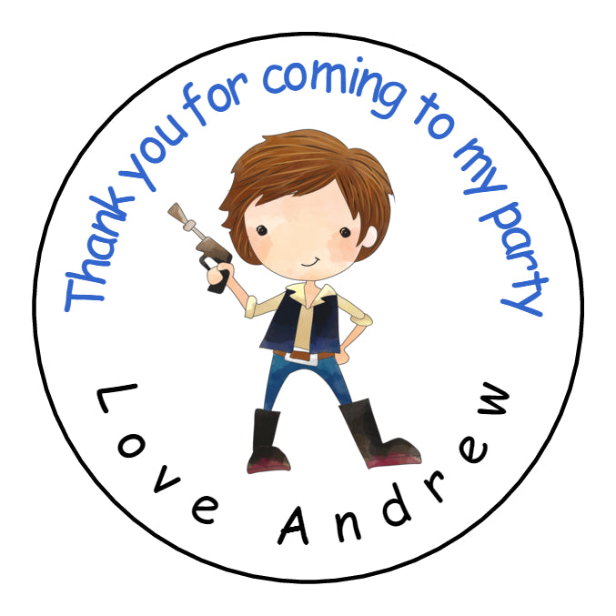 Personalised Glossy Birthday Party Favour Sweet Bag Stickers - Star Wars Han
