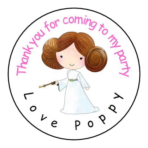 Personalised Glossy Birthday Party Favour Sweet Bag Stickers - Star Wars Princess Leia