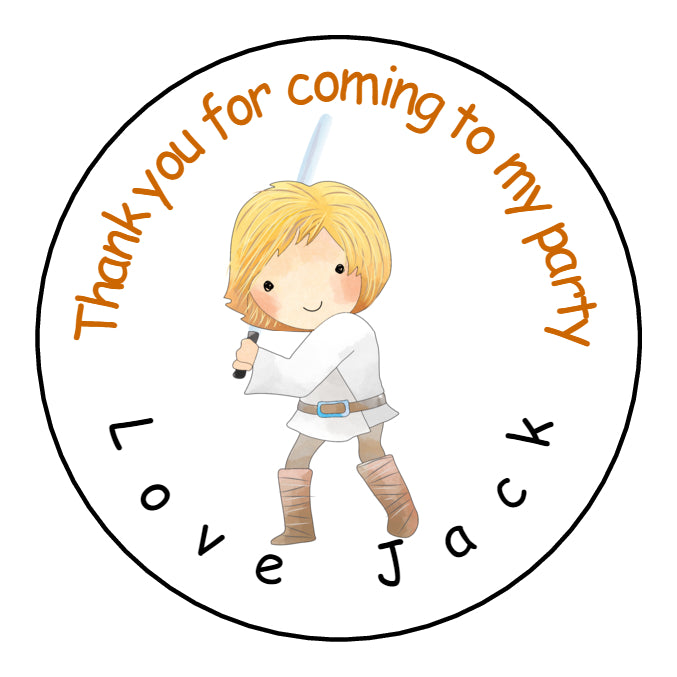 Personalised Glossy Birthday Party Favour Sweet Bag Stickers - Star Wars Luke Skywalker