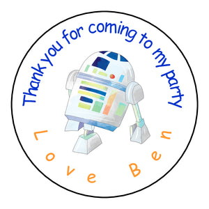 Personalised Glossy Birthday Party Favour Sweet Bag Stickers - Star Wars R2D2