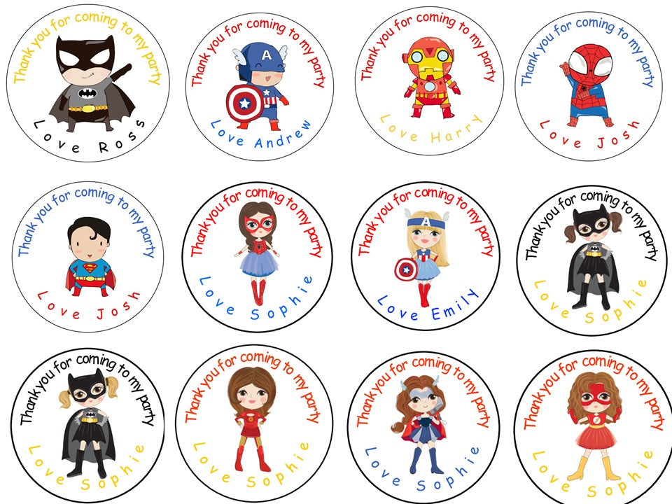 Personalised Gloss Birthday Party Favour Sweet Bag Stickers - Superheros