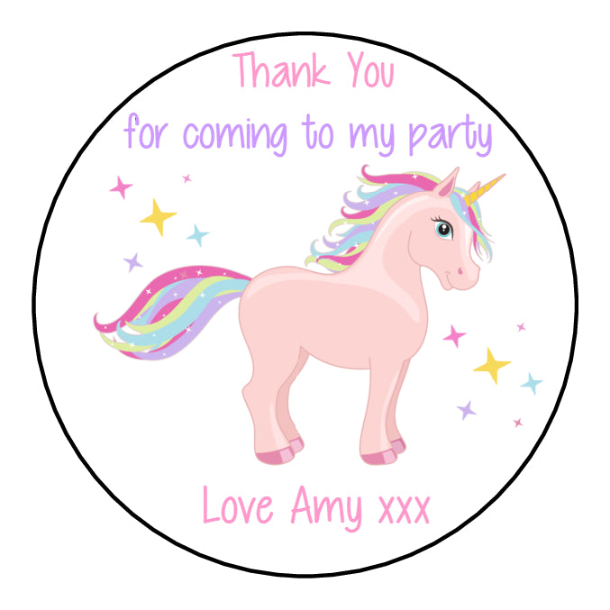 Personalised Glossy Birthday Party Favour Sweet Bag Stickers - Unicorn