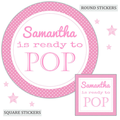 Personalised Baby Shower Party Favour Sweet Bag Stickers Ready to Pop Pink