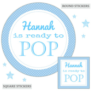 Personalised Baby Shower Party Favour Sweet Bag Stickers Ready to Pop Blue