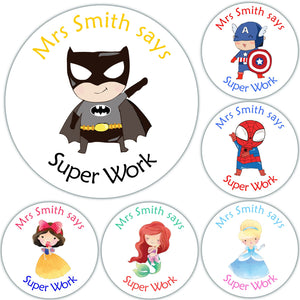 96 Personalised Reward Stickers For Teachers Parents Superhero Princess Mix Nurse Doctor Dentist Well Done