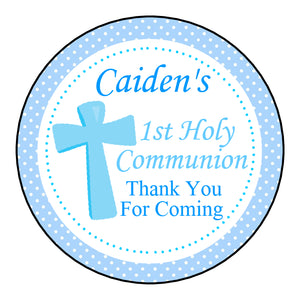 Personalised Round Glossy First Holy Communion Party Favour Sweet Bag Stickers Spots