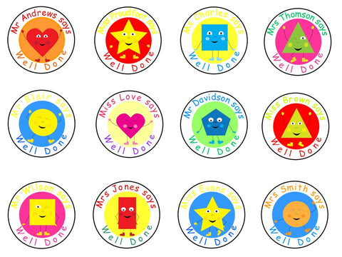 Personalised Glossy School Teacher Parents Reward Stickers - Shapes