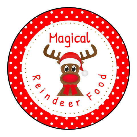 Glossy Round Christmas Labels Stickers Reindeer Food