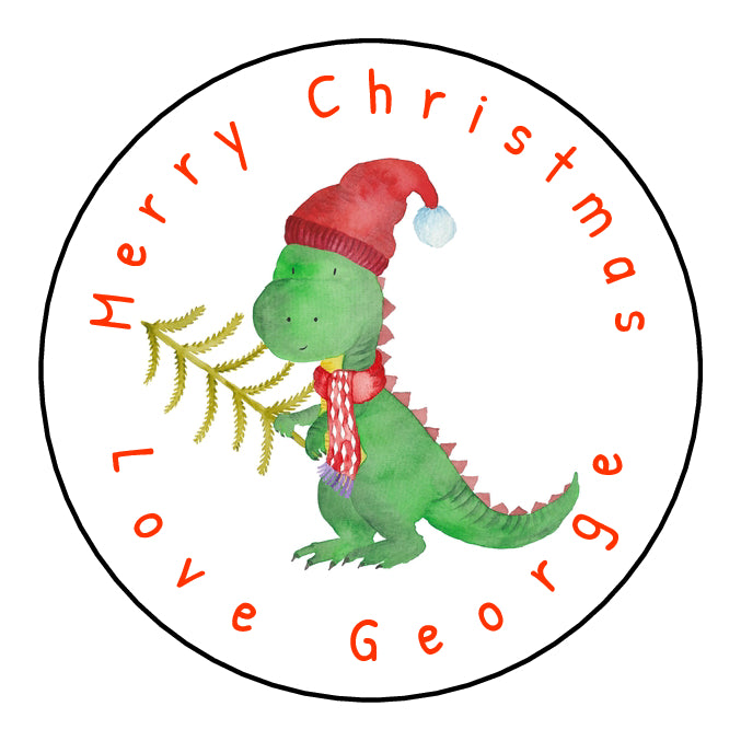 Personalised Round Glossy Christmas Present Gift Label Tag Stickers Dinosaur