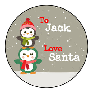 Personalised Round Glossy Christmas Present Gift Label Tag Stickers Penguins
