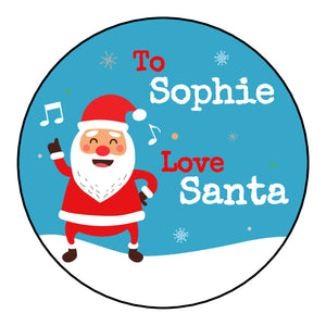 Personalised Round Glossy Christmas Present Gift Label Tag Stickers Dancing Santa Claus