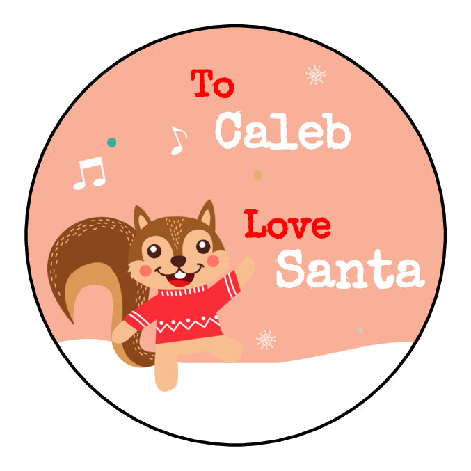 Personalised Round Glossy Christmas Present Gift Label Tag Stickers Squirrel