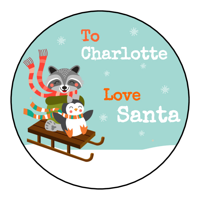 Personalised Round Glossy Christmas Present Gift Label Tag Stickers Racoon