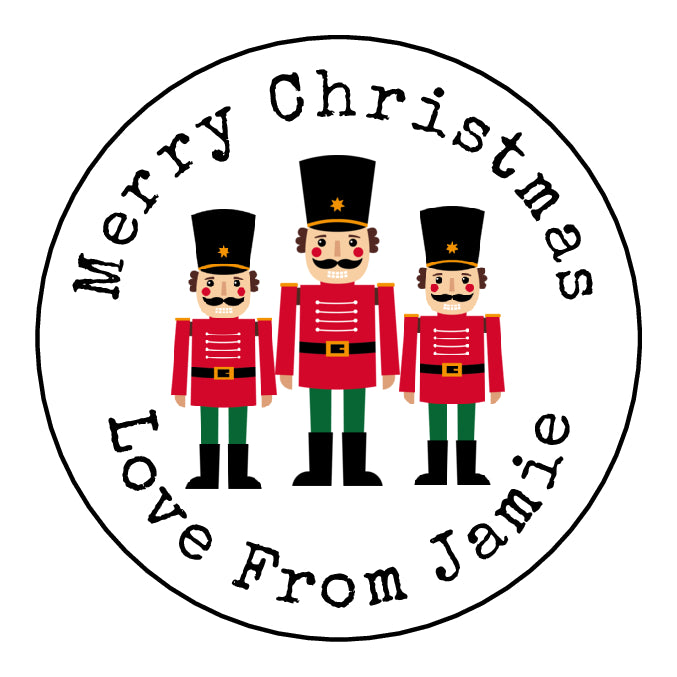 Personalised Round Glossy Christmas Present Gift Label Tag Stickers Toy Soldiers
