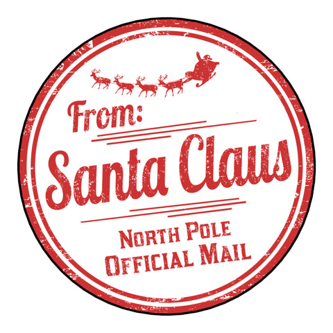 Glossy Christmas Round Label Stickers From Santa Claus North Pole Official Mail Postmark