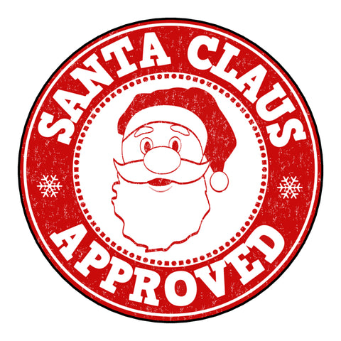 Glossy Christmas Round Label Stickers From Santa Claus Approved Postmark