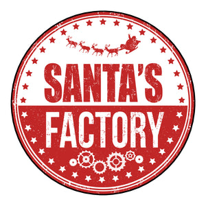 Glossy Round Christmas Label Stickers From Santas Factory Postmark