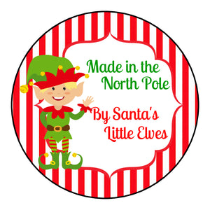 Glossy Round Christmas Label Stickers From Santa Claus Little Elves