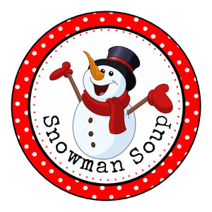 Glossy Round Christmas Labels Stickers For Hot Chocolate Snowman Soup