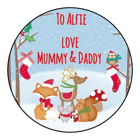 Personalised Round Glossy Christmas Present Gift Label Tag Stickers Woodland Animals