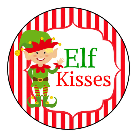 Glossy Round Christmas Labels Stickers Crafts Food Elf Kisses