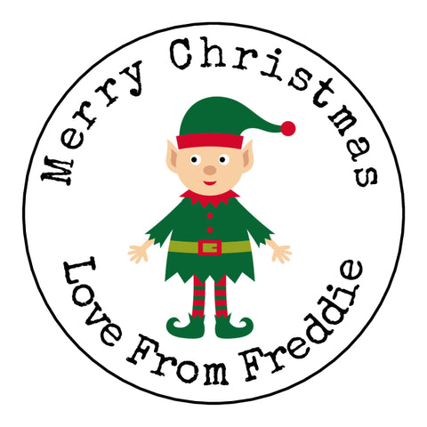 Personalised Round Glossy Christmas Present Gift Label Tag Stickers Elf