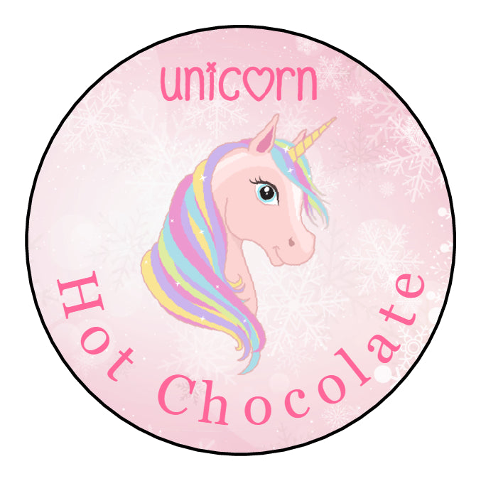 Personalised Round Glossy Christmas Food Unicorn Hot Chocolate Stickers Cones