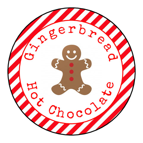 Personalised Round Glossy Christmas Food Gingerbread Hot Chocolate