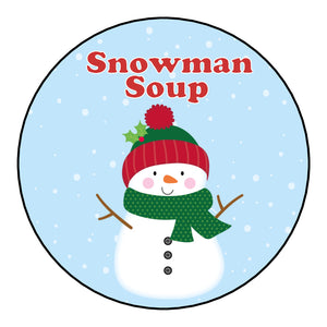Christmas Round Glossy Hot Chocolate Stickers Labels for Cones Snowman Soup