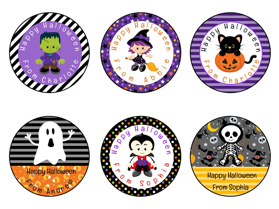 Personalised Glossy Halloween Party Favour Sweet Bag Stickers Mix