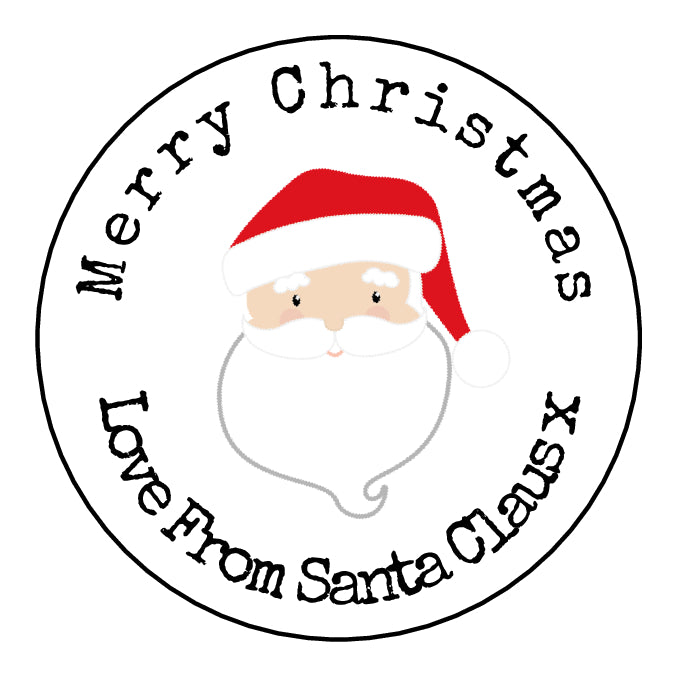 Personalised Round Glossy Christmas Present Gift Label Tag Stickers Santa Claus