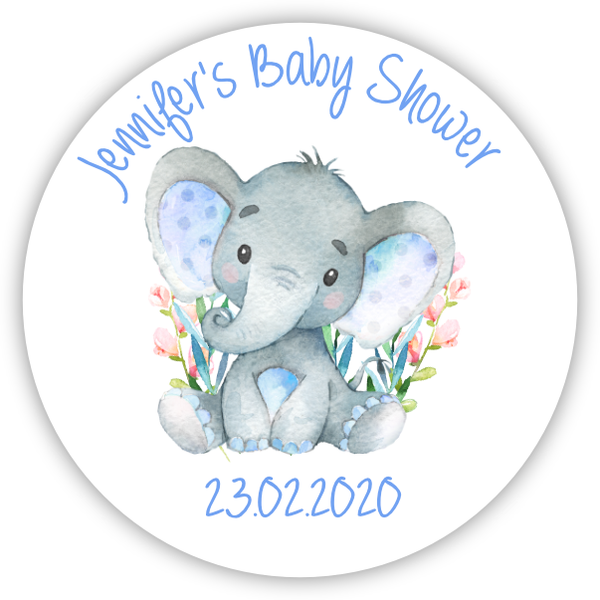 Personalised Baby Shower Party Favour Sweet Bag Stickers Gloss Round Watercolour Blue Elephant
