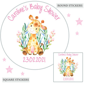 Personalised Baby Shower Party Favour Sweet Bag Stickers Giraffe Pink