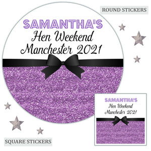 Personalised Hen Party Favour Sweet Bag Stickers Printed Glitter Effect Lilac