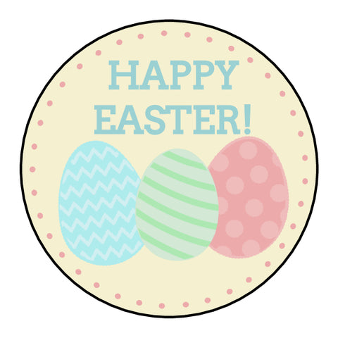 Personalised Glossy Happy Easter Stickers - Easter Eggs