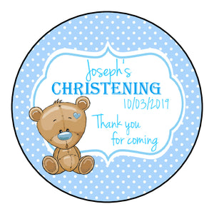 Personalised Christening Day Favour Stickers For Sweet Bags Baby Bear Blue