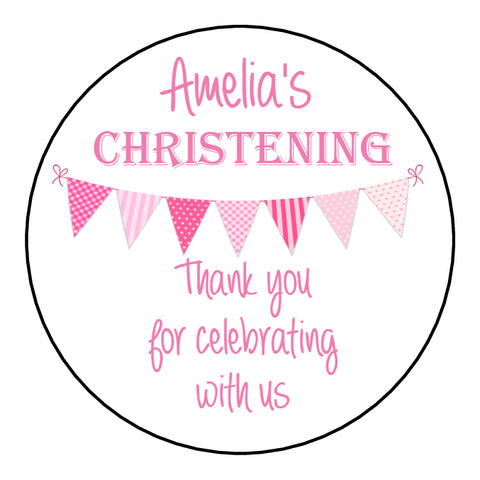 Personalised Christening Day Favour Stickers For Sweet Bags Bunting Pink