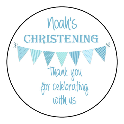 Personalised Christening Day Favour Stickers For Sweet Bags Bunting Blue