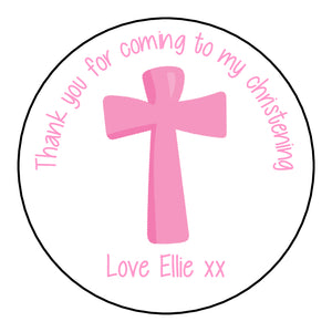 Personalised Christening Day Favour Stickers For Sweet Bags Cross Pink
