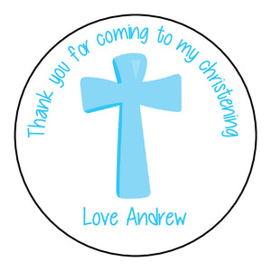 Personalised Christening Day Favour Stickers For Sweet Bags Cross