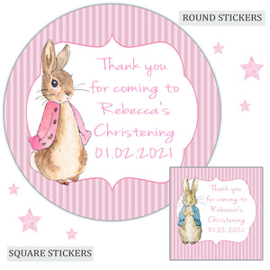Personalised Christening Party Favour Sweet Bag Stickers Flopsy Bunny Pink Girl