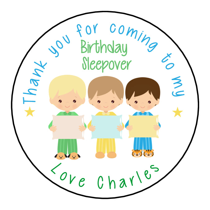 Personalised Birthday Party Favour Sweet Bag Stickers Boys Sleepover Slumber Party