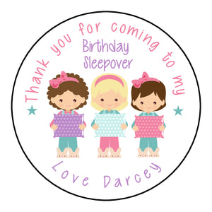 Personalised Birthday Party Favour Sweet Bag Stickers Sleepover Slumber Party