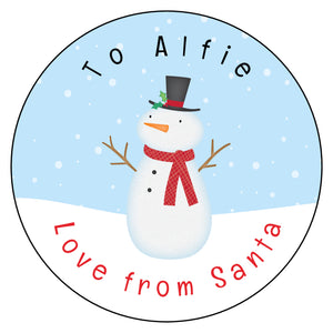 Personalised Christmas Present Gift Label Tag Stickers Snowman