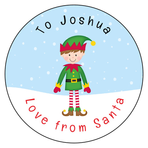 Personalised Christmas Present Gift Label Tag Stickers Elf