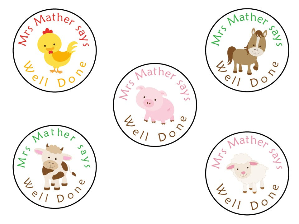Personalised Reward Stickers For Teachers Parents Farm Animals